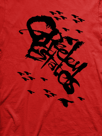 Layout da camiseta da banda Greeley Estates