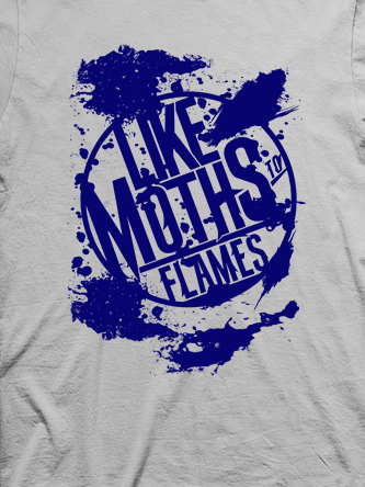 Layout da camiseta da banda Like Moths To Flames