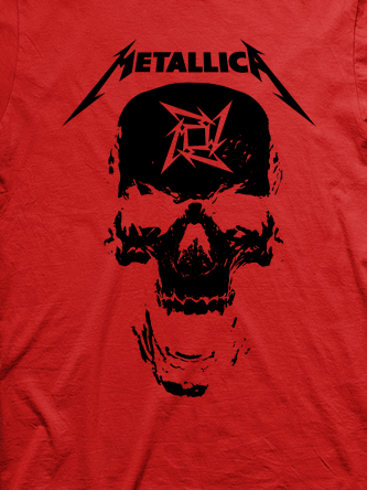 Layout da camiseta da banda Metallica