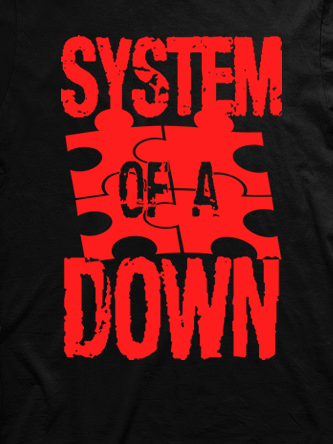 Layout da camiseta da banda System of a Down