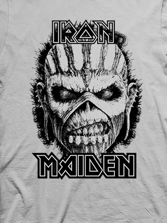 Layout da camiseta da banda Iron Maiden