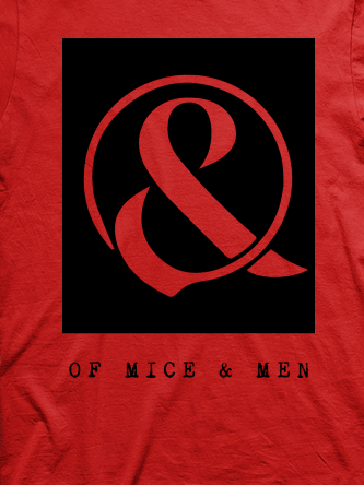Layout da camiseta da banda Of Mice & Men