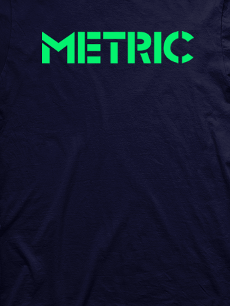 Layout da camiseta da banda Metric
