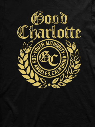 Layout da camiseta da banda Good Charlotte