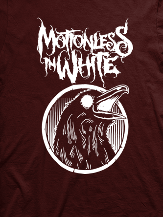 Layout da camiseta da banda Motionless In White