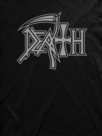 Layout da camiseta da banda Death