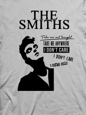 Layout da camiseta da banda The Smiths