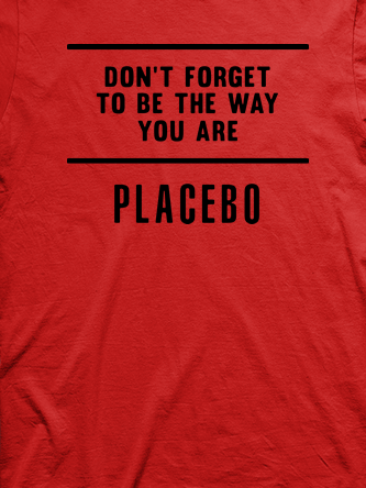Layout da camiseta da banda Placebo