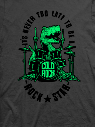 Layout da camiseta da banda Dino Drums Green