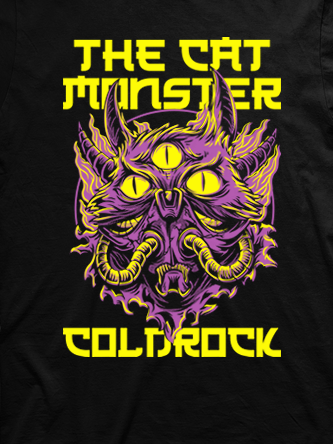 Layout da camiseta da banda Monster Cat Yellow