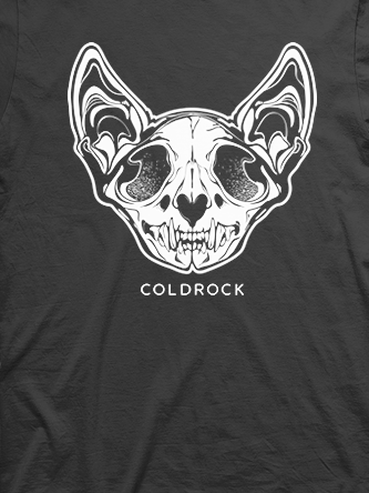 Layout da camiseta da banda Skull Cat Black