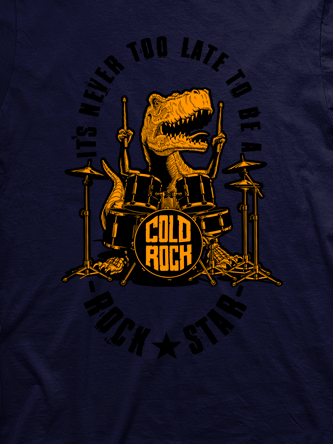 Layout da camiseta da banda Dino Drums Orange