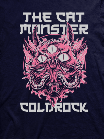 Layout da camiseta da banda Monster Cat Pink