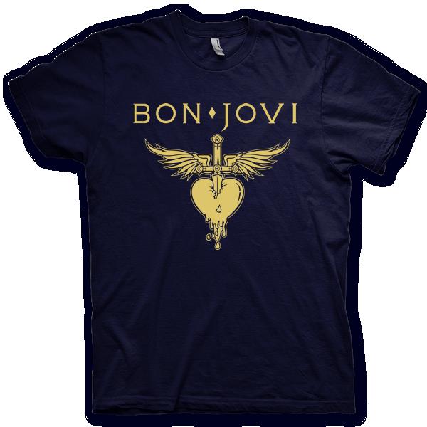 2f0e3ebe2c9c6 Montagem digital da camiseta preta com estampa azul com arte centralizada  da banda Bon Jovi,