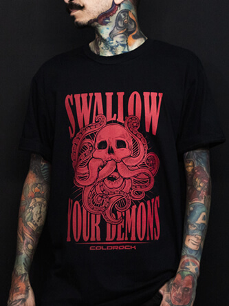 Layout da camiseta da banda Swallow Your Demons